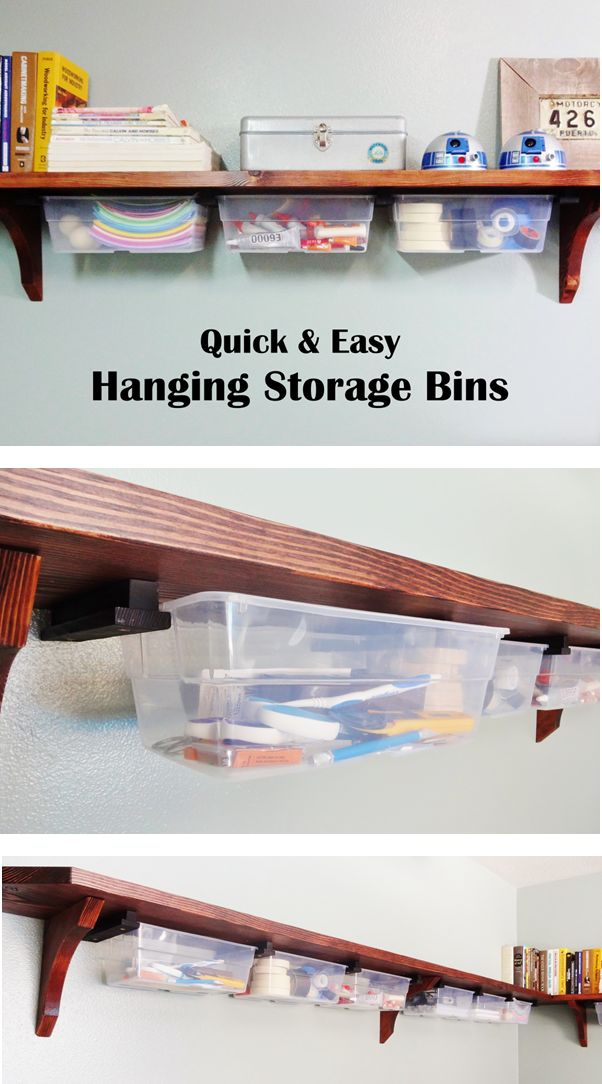 Fasten plastic bins to the undersides of your shelves with simple cleats, and you've got a quick and inexpensive organization system in place!