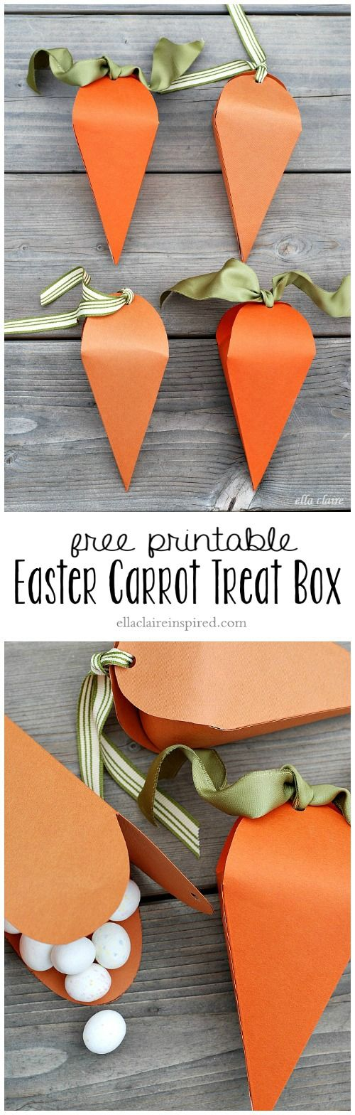 Create these super easy and adorable Easter Carrot Treat and Favor Boxes by simply printing this pattern onto cardstock and following the easy tutorial!