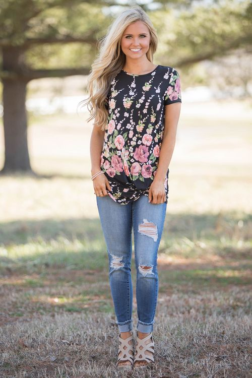 This Unforgettable Love Floral Blouse Black - The Pink Lily