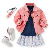 """Sparkle high top sneakers are the perfect match for this tee and scooter skirt outfit. Pink denim jacket is a perfect layer on a cool day.  See the entire collection here: <a href=""""http://www.carters.com/carters-baby-girl-collections-top-trends-vintage-prints?navID=header""""><u>Vintage Prints</u></a>"""