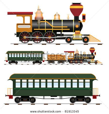 stock vector : Retro steam train with coach (vector illustration isolated on white background)