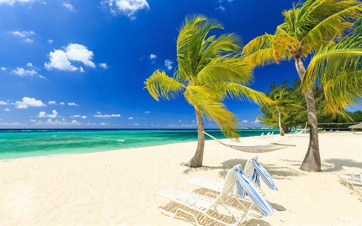 Download imagens Maldivas, 4k, ilhas tropicais, praia, oceano, ondas, areia branca, palmeiras, conceitos de viagens