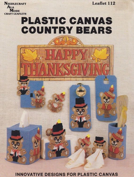 Country Bears, Needlecraft Ala Mode Thanksgiving Plastic Canvas Pattern Booklet 112 OOP