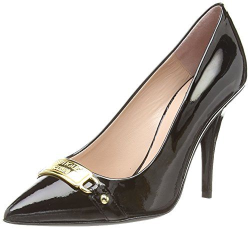 Moschino Patent Plate Trim Court Damen Pumps Schwarz (Black) 35