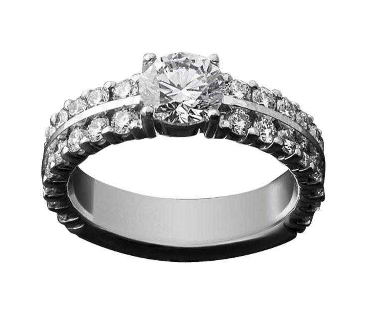 Если кольцо с одним бриллиантом Вас не впечатляет – мы знаем, как решить проблему. Нужно добавить больше бриллиантов. Сияние камней не только делает эту модель поразительной, но и создает сияние в глазах его обладательницы. И слезы в глазах подруг.