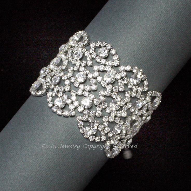 Vintage Bridal Cuff Bracelet, Rhinestone Wedding Bracelet, Wide Bridal Cuff Bracelet, Filigree Vintage Wedding Jewelry, Bride Jewellery.  via Etsy.