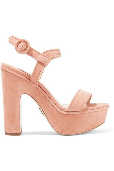 Heel measures approximately 130mm/ 5 inches with a 40mm/ 1.5 inches platform Blush suede Buckle-fastening ankle strap Made in Italy