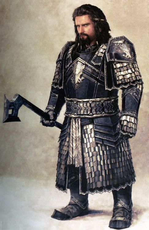 """Concept art of younger Thorin in armor from """"The Hobbit: An Unexpected Journey"""" (2012).  The character at this stage was already clothed in his distinctive royal blue, an aspect of the character that would be retained even for the final film production."""