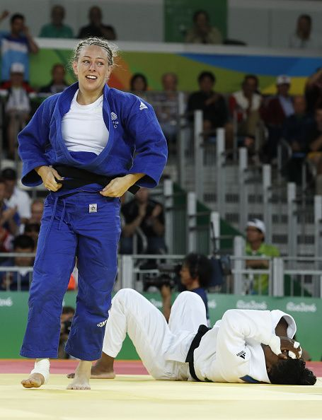 #RIO2016 Great Britain's Sally Conway celebrates after defeating France's Gevrise Emane during their women's 70kg judo contest match of the Rio 2016 Olympic...