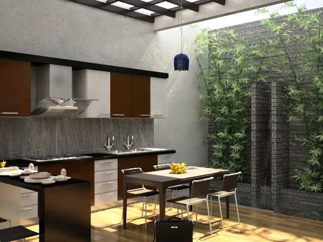 Desain Dapur Terbuka Minimalis  Desain Dapur Terbuka  Semi Outdoor Menghadap Taman di Belakang