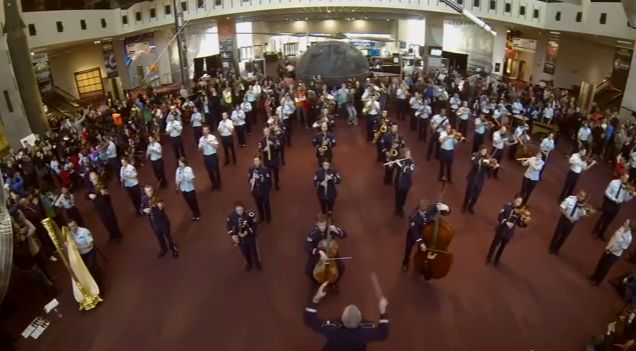 "National Air and Space Museum's ""Milestones of Flight"" gallery, swelled to 120 musicians, as the U.S. Air Force Band exhilarated museum visitors with its first-ever flash mob. The four-minute performance featured an original arrangement of ""Jesu, Joy of Man's Desiring/Joy to the World,"""