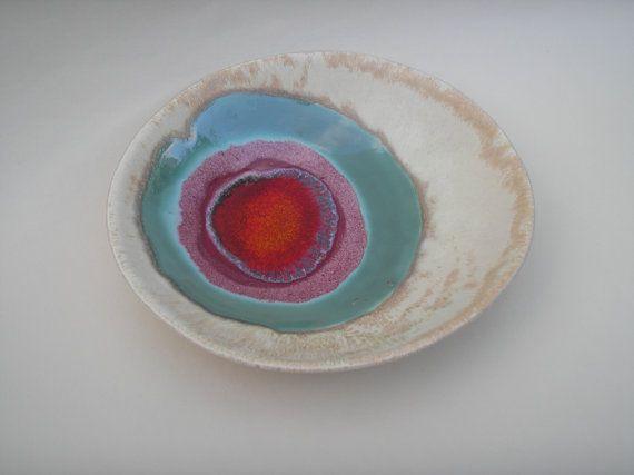 beautiful colours on this ceramic plate. hbceramics etsy.