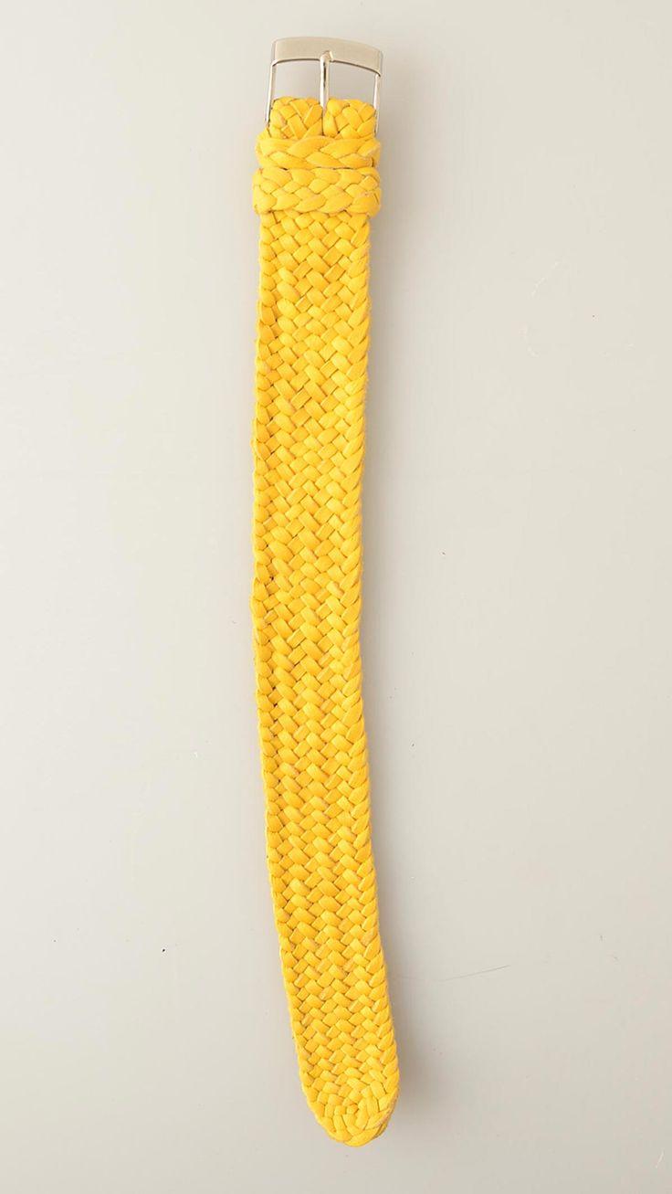 24 cm, Yellow sheepskin leather watchband with steel buckle closure, handmade in Mexico., Sheepskin.