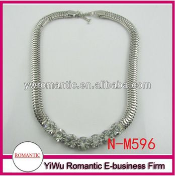 Rhinestone snake necklace - box clasp
