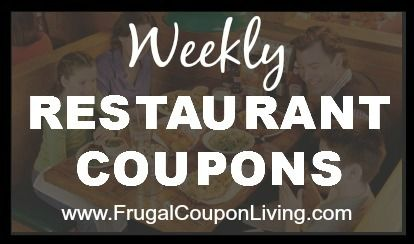 Restaurant and Retail Coupon Round-Up for November 6, 2015 - Restaurant Coupons, Retail Coupons, and Mall Coupons for the weekend on Frugal Coupon Living.