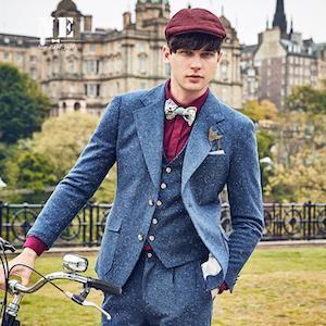 Mens 40% Wool Wide Lapel Blazer - Blue Tweed