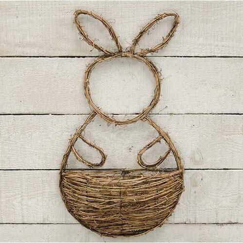 New Country Spring Easter Grapevine Twig BUNNY WALL BASKET Rabbit Wreath #Handmade