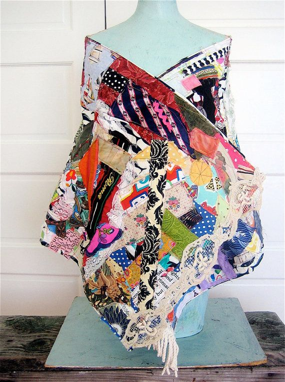 100 Random SCRAPS of FABRIC Crazy Quilt SCARF Shawl Cape  my bonny