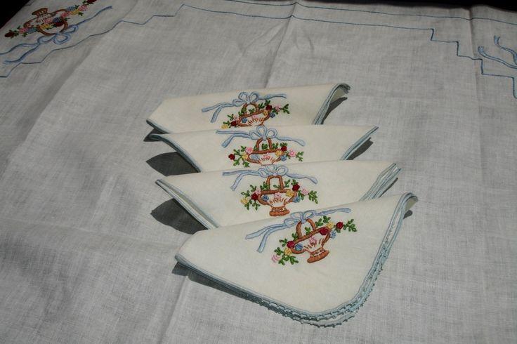 Nappe en lin français couverture de table avec 4 par MAISONDELINGE