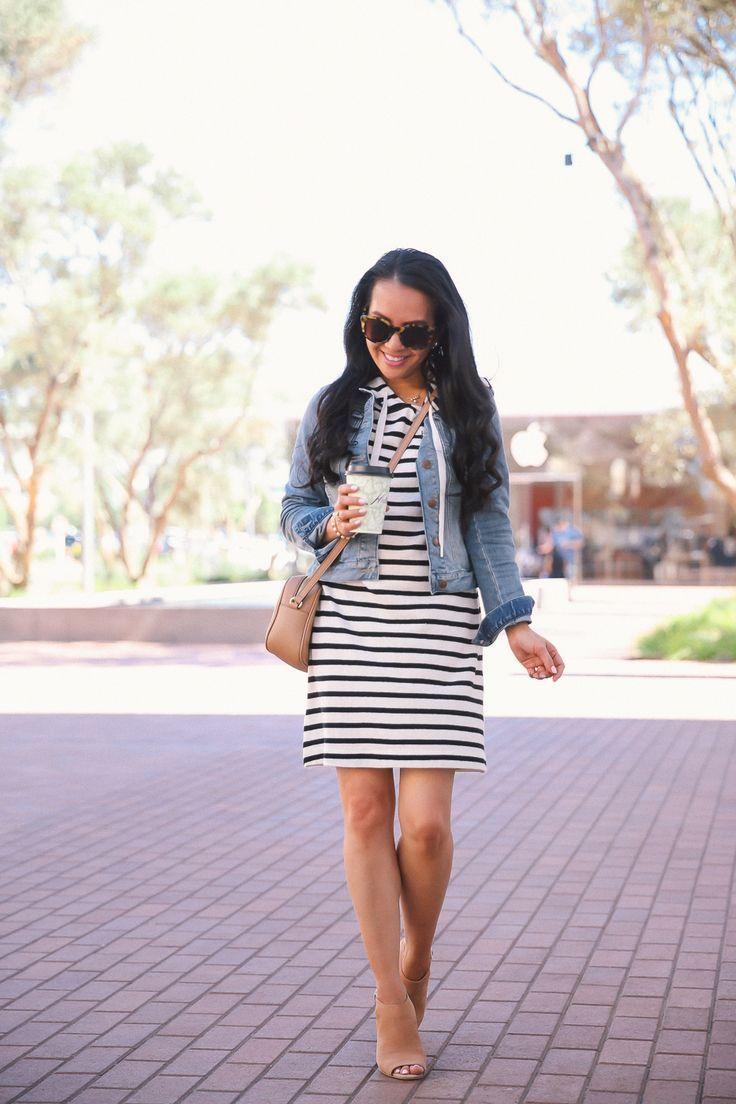 20e9996c8b3f striped dress gucci soho disco bag peep toe sandals denim jacket spring  outfit