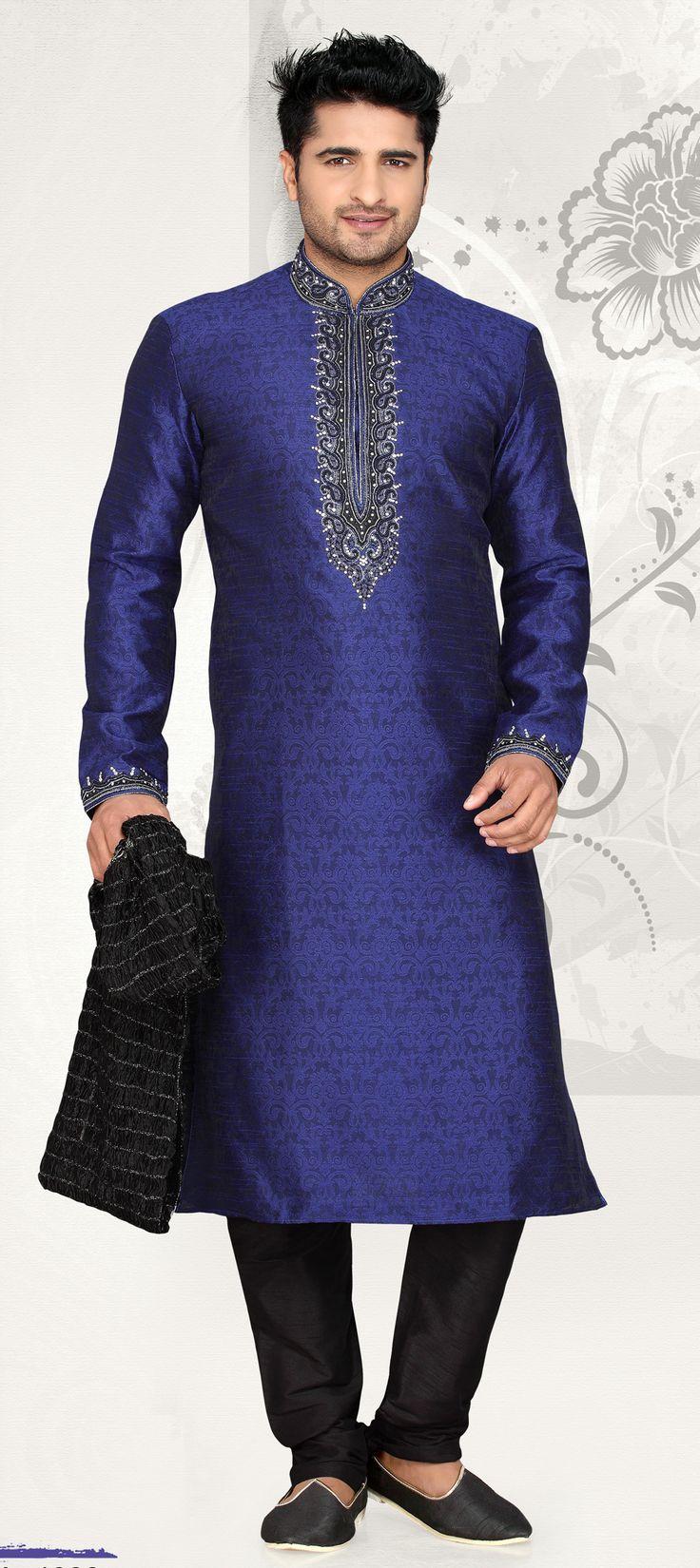 501323: Blue color family Kurta Pyjamas. Fabric: Brocade, Jacquard Work: Bugle Beads, Cut Dana, Stone Color Family: Blue Washing Instruction: Dry Wash