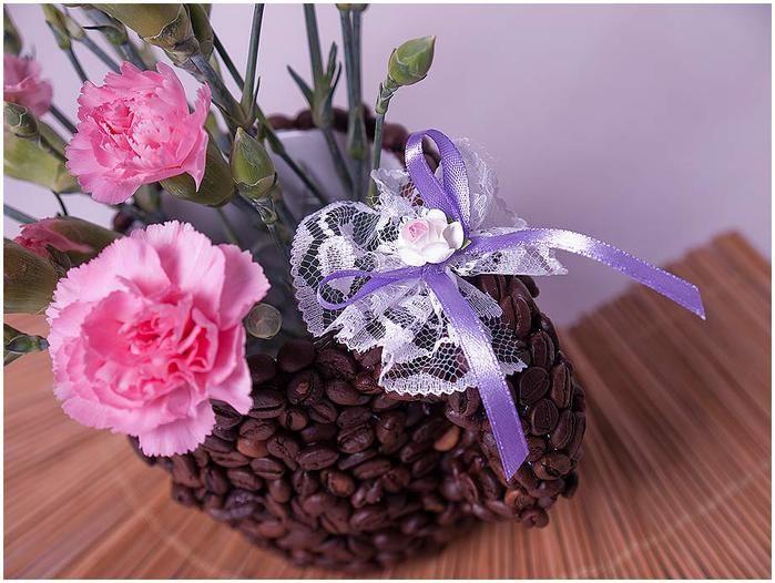 la taza de café.  decoración con los granos de café (12) (700x526, 65Kb)