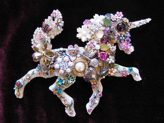 Adiana Unicorn Fantasy Vintage Jewelry Art by ArtCreationsByCJ, $75.00
