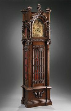 Gothic-Style Grandfather Clock ~ M.S. Rau Antiques