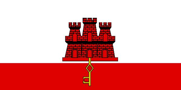 The Gibraltar flag dates from 1502, as it's based on the original arms granted it by Spain. The red and white field is taken from the arms, and it's dominated by a red three-towered fortress, complete with a gold key.