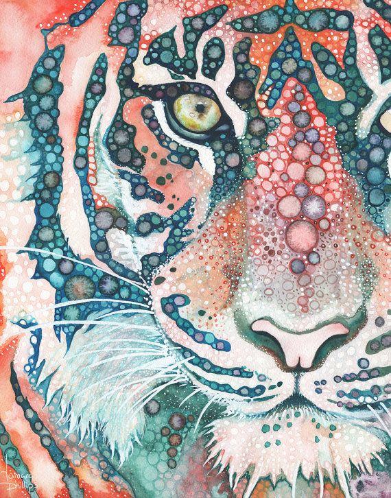 impression de 5 « x 7 »  Tigres de Sumatra sont gravement menacées.  La population de tigres de Sumatra qui survivent à létat sauvage aujourdhui est estimée à seulement 400 individus. Malheureusement, ces chiffres diminuent rapidement.  Jai peint cette œuvre en lhonneur de ces magnifiques créatures et je vous offre des impressions de mon oeuvre pour aider à garder une partie des derniers Tigres de Sumatra reste vivante et libre.  Bénéfices de la vente de ces gravures sont remis directement à…