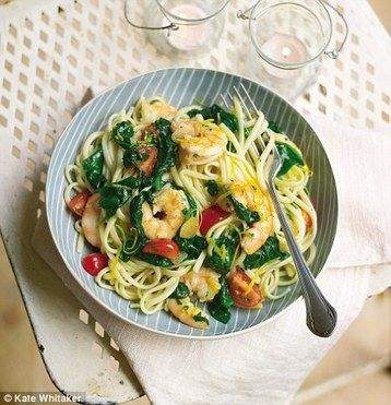 Gino D'Acampo's Liguine with Garlic, Prawns and Spinach Lose weight by eating the Italian way! http://www.mydish.co.uk/recipe/9036/gino-dacampos-liguine-with-garlic-prawns-and-spinach #mydish.