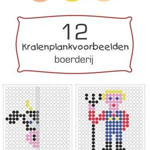 Een pakket van 12 unieke kaarten voor de kralenplank in het thema 'boerderij' inclusief spiegelopdrachten.