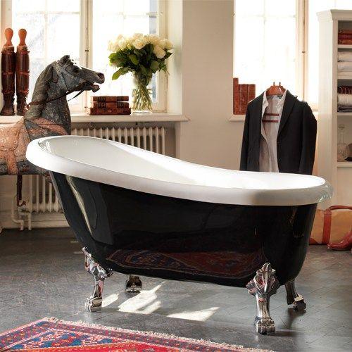 Badekar Hafa Newport Sort/Hvit fra Bygghjemme. Om denne nettbutikken: http://nettbutikknytt.no/bygghjemme-no/
