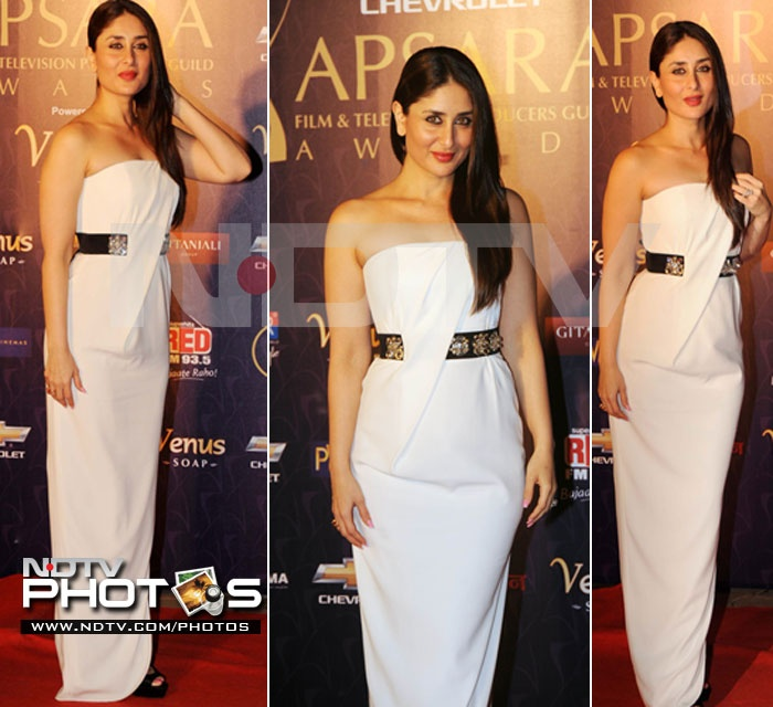 Indian Actor Kareena Kapoor in a Paule Ka Gown at Apsara Awards, Jan, 12.