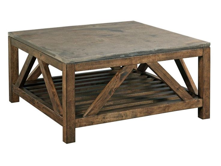 Kincaid Furniture Mason Industrial Rustic Square Cocktail Table with Finished Concrete Top - Johnny Janosik - Cocktail or Coffee Table
