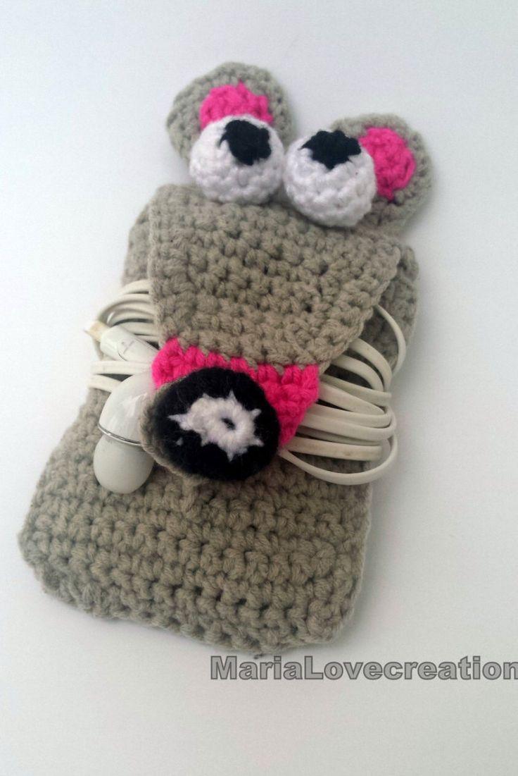 Crochet Earphone Holder - Handmade -  Cord Holder- Grey  Mouse Headphone Organiser - Earbud Organizer - Smartphone Accessory by MariaLovecreation on Etsy https://www.etsy.com/listing/229384744/crochet-earphone-holder-handmade-cord