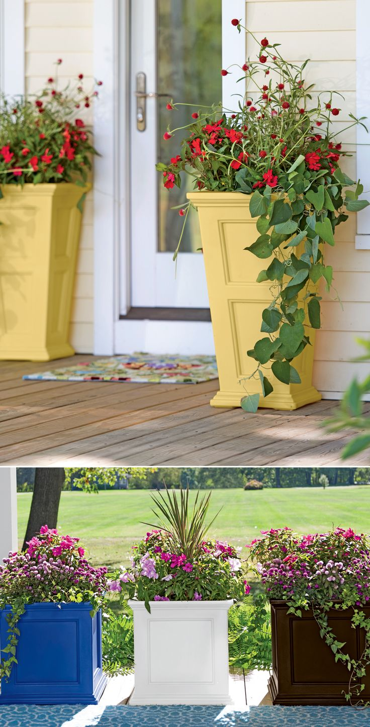 Easy-care, self-watering Fairfield polyethylene planters make the most of small spaces and entrances.