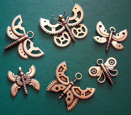 New brass, copper and stone pendants (Added more pictures!)  Look at the butterflies made out of gears and screws.....