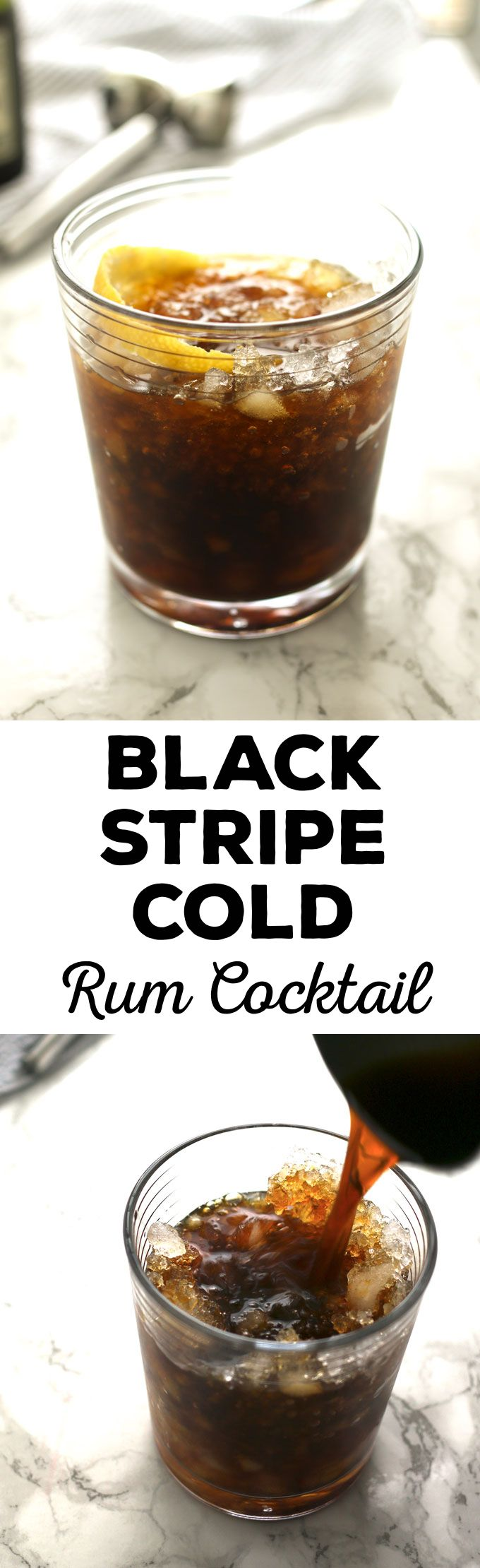 The black stripe cold rum cocktail is a fantastic drink with a surprise ingredient - molasses! If you are looking for something sweeter, add honey; if not, just enjoy the molasses and dark rum all on their own over crushed ice.   honeyandbirch.com