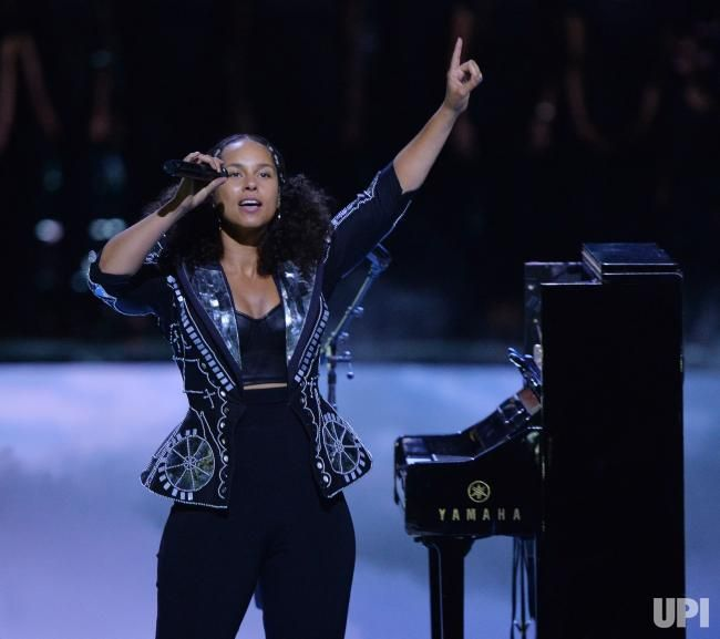 Singer Alicia Keys performs during We Day California at The Forum in Inglewood, California on April 27, 2017. WE Charity, formerly known as…