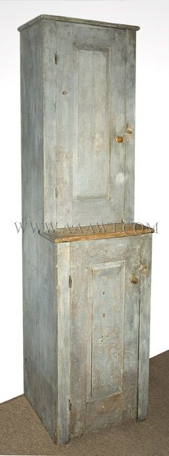 19TH CENTURY SMALL STEPBACK CUPBOARD IN GRAY PAINT....~♥~