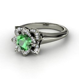Lotus Ring, Round Emerald White Gold Ring with Diamond from Gemvara