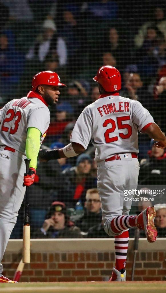 Marcell Ozuna Dexter Fowler Stl April 17 2018 At Chc Chicago Tribune Baseball Sports Jersey