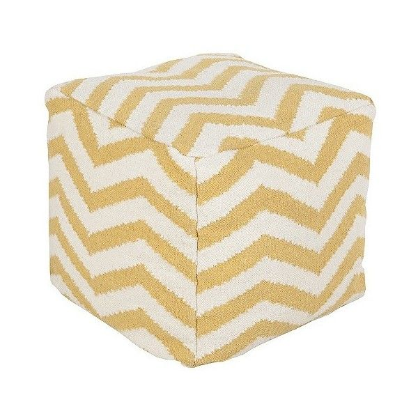 "Yellow Icarus Chevron Cube Pouf 18x18""x18\"" ($240) ❤ liked on Polyvore featuring home, furniture, ottomans, sunflower, colored furniture, chevron furniture, surya, yellow ottoman and cube footstool"