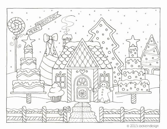 Winter Scenes Coloring Pages Beautiful Items Similar To Gingerbread House Winter Scene Colo Christmas Coloring Sheets Coloring Pages Winter Free Coloring Pages