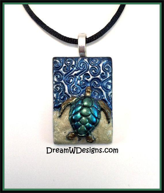 Collar de tortugas marinas, océano collar, joyería hecha a mano, collar de arcilla de polímero, collar Tribal, collar de la playa, regalo mujer, tortuga verde