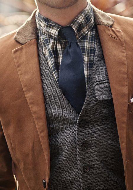 : Herringbone Vest, Pattern, Color, Texture, Men Style, Men Fashion, Jackets, Ties, Plaid Shirts