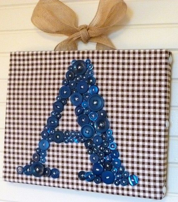 Baby Boy Nursery Wall Art, Children Wall Art, Personalized Navy Blue Button Letter on Canvas or Ready-to-Frame (frame not included)