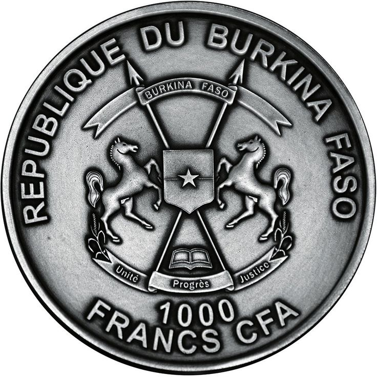 2016 Burkina Faso 1 oz 1k Francs silver coin - Heliocentric Theory, Nicolaus Copernicus (antique finish and meteorite fragment inserts from the Moon, Mars, Mercury, Vesta and Moldavite tectite from Earth).