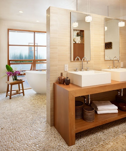 Clean, bright bathroom with natural elements